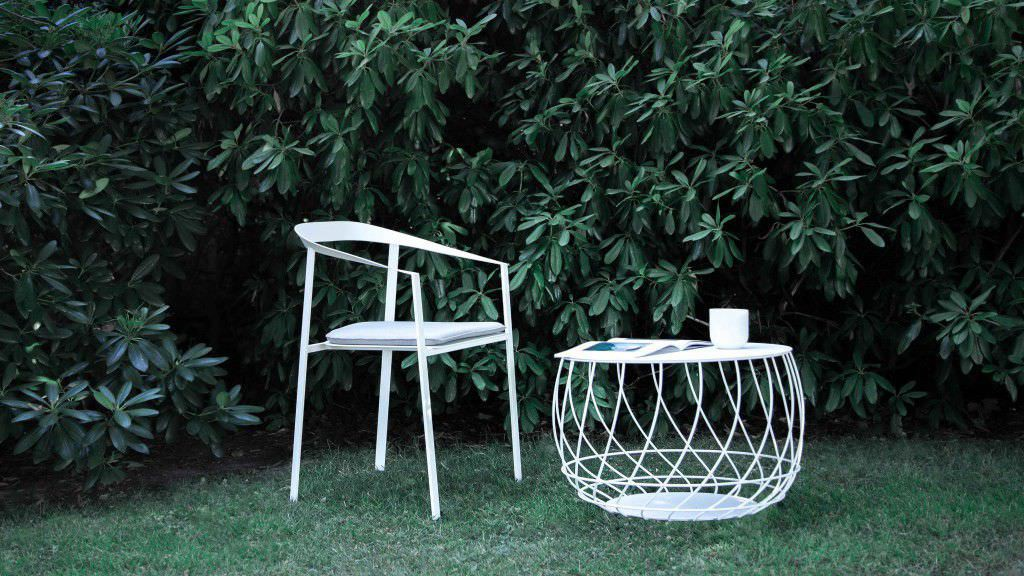 Contemporary chair / metal / with armrest / outdoor