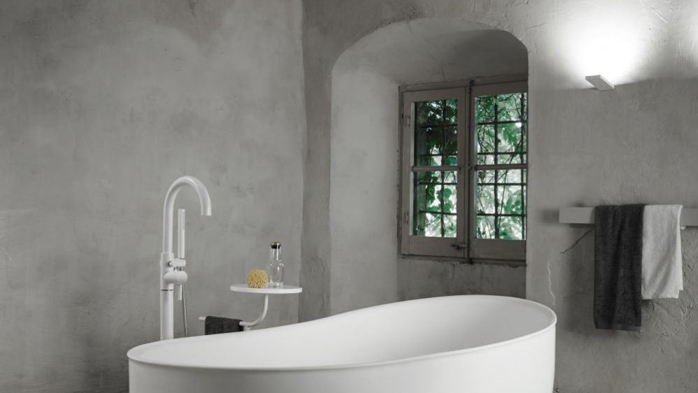 Modern minimalist revival by Norm Architects for antique metal bathtubs