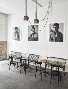 La Vaquería Montañesa Madrid Restaurant Design, Flos lamps, Ilmari Tapiovaara of Artek, La Vaquería Montañesa, Madrid, Madrid Cafe, Madrid Coffee Shops, Stylish Coffee Shops