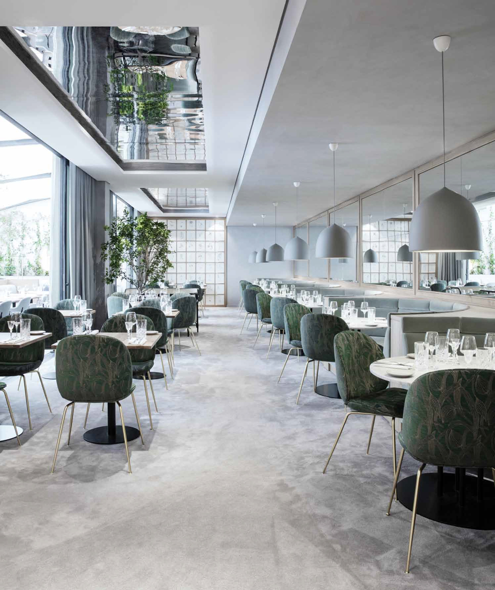 Stills from Restaurant Copenhague in Paris by Studio Gamfratesi