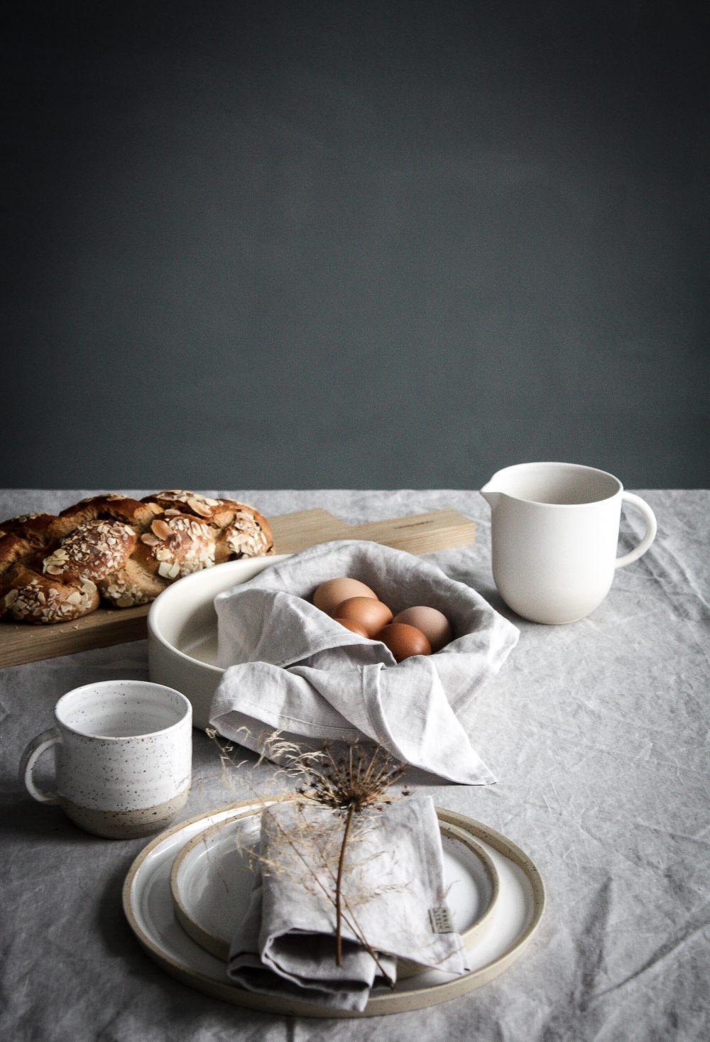Easter Brunch table setting- celebrating nature and serene minimalism