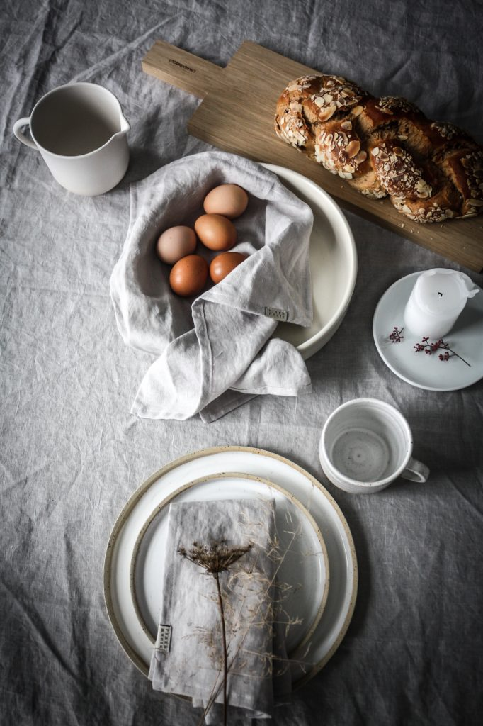 Easter Brunch table setting- celebrating nature and serene minimalism.