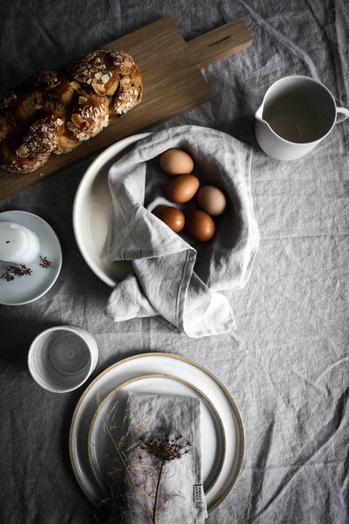 Easter Brunch table setting- celebrating nature and serene minimalism.