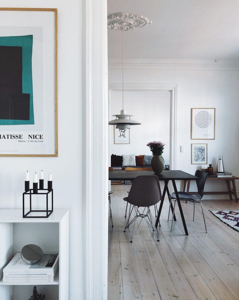Scandinavian interior, copenhagen appartient, mixing old and new interior