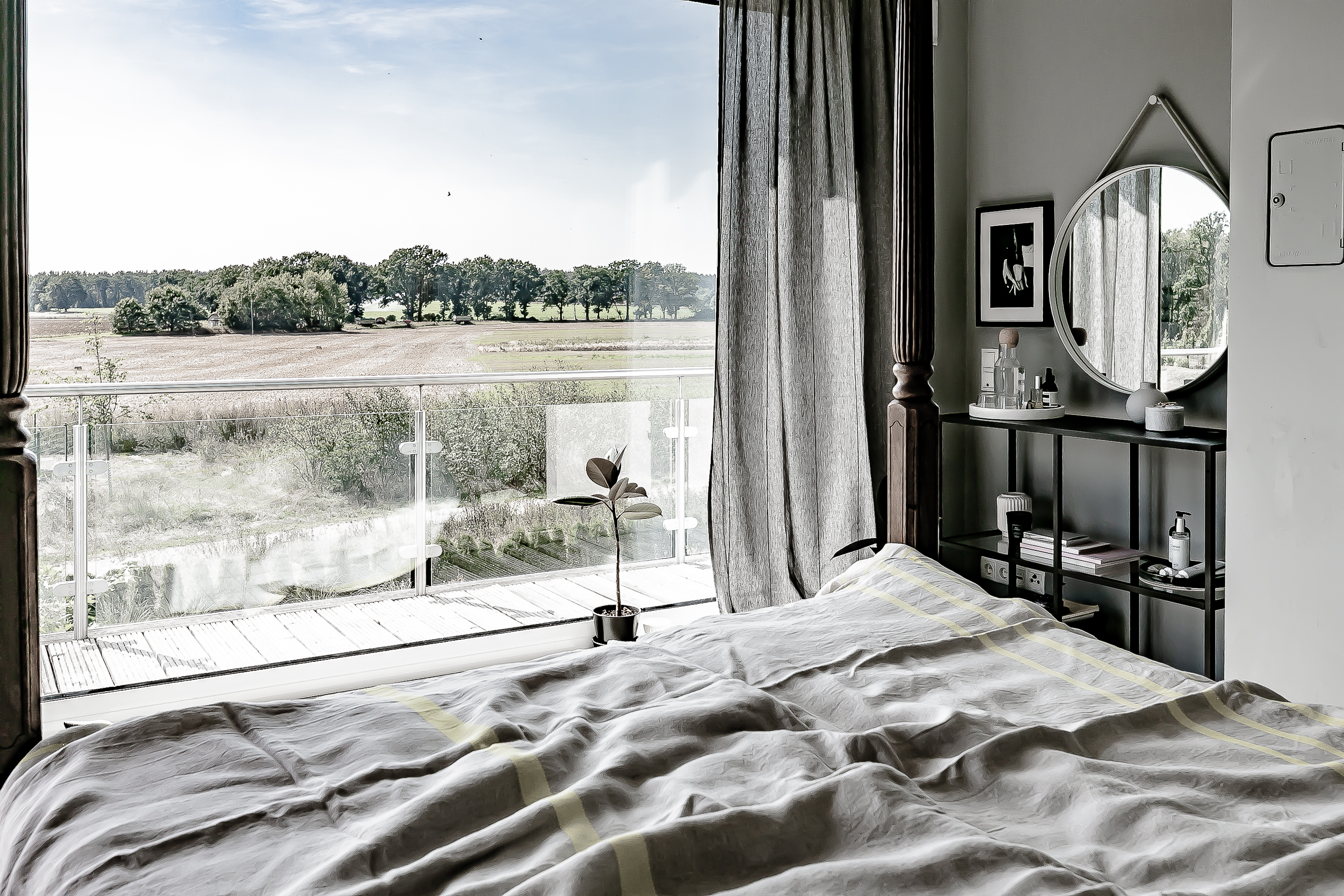linen bedding, creating a wellness oasis in bedroom, interior styling